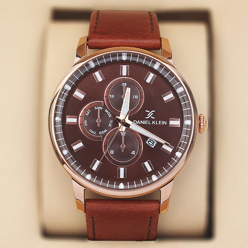 Daniel Klein Aticcus Brown Leather Pilot Series Watch