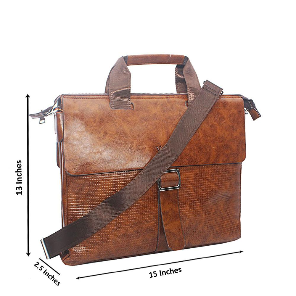 Brown Etched Buckle Leather Briefcase