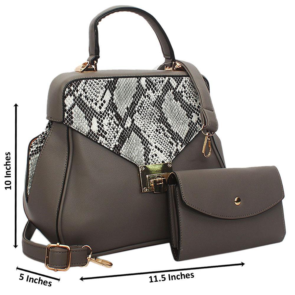 Gray Snake Styled Leather Small Top Handle Handbag