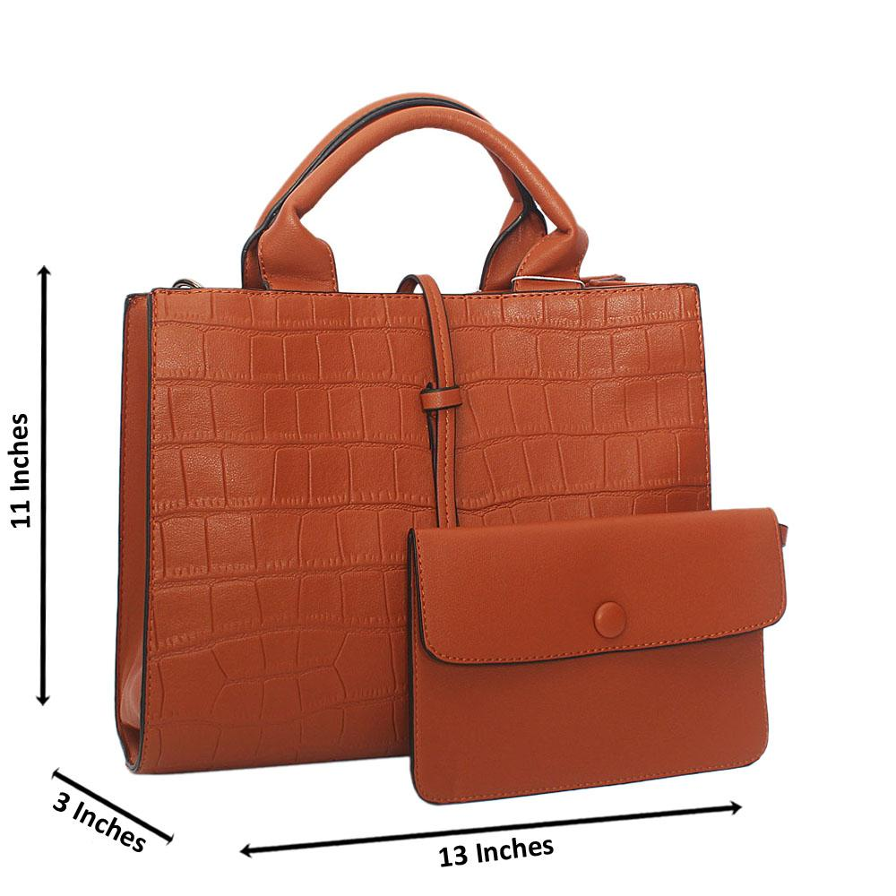 Brown Adrian Croc Leather Tote Handbag