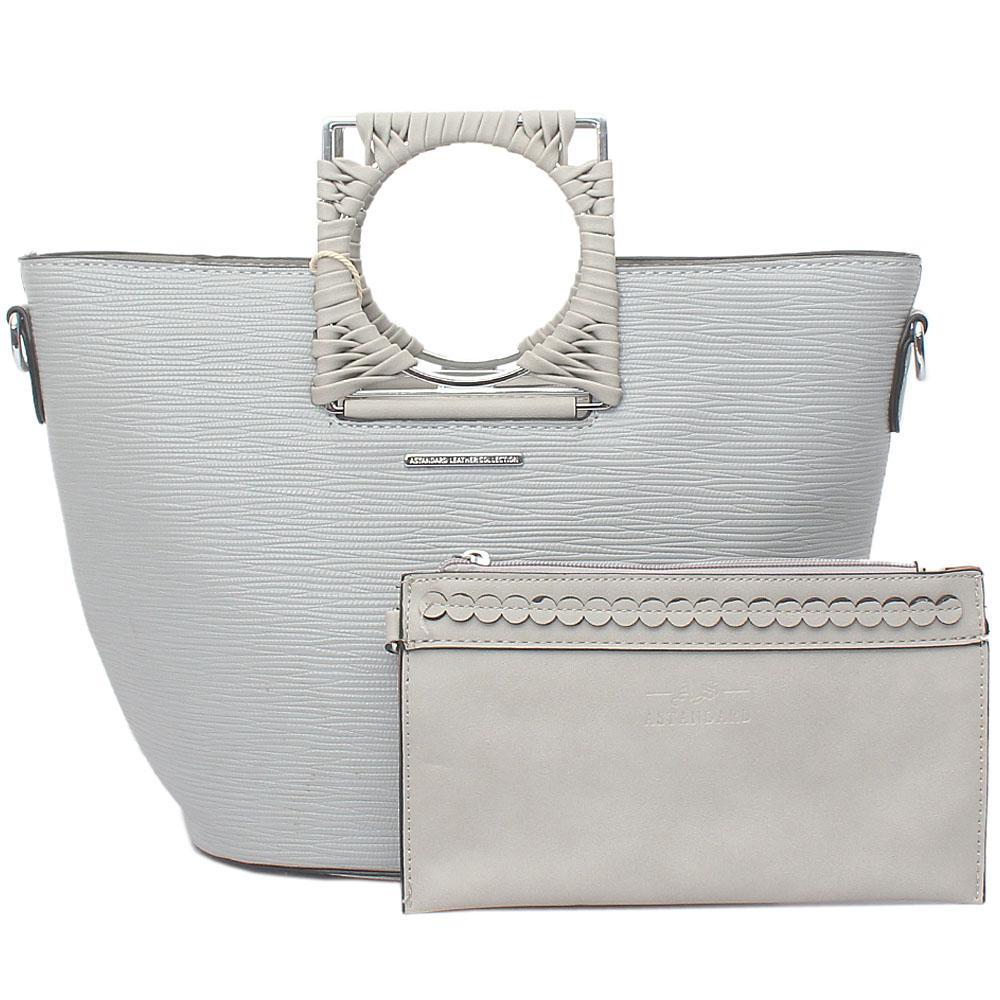 Astandard Gray Leather Top Handle Bag