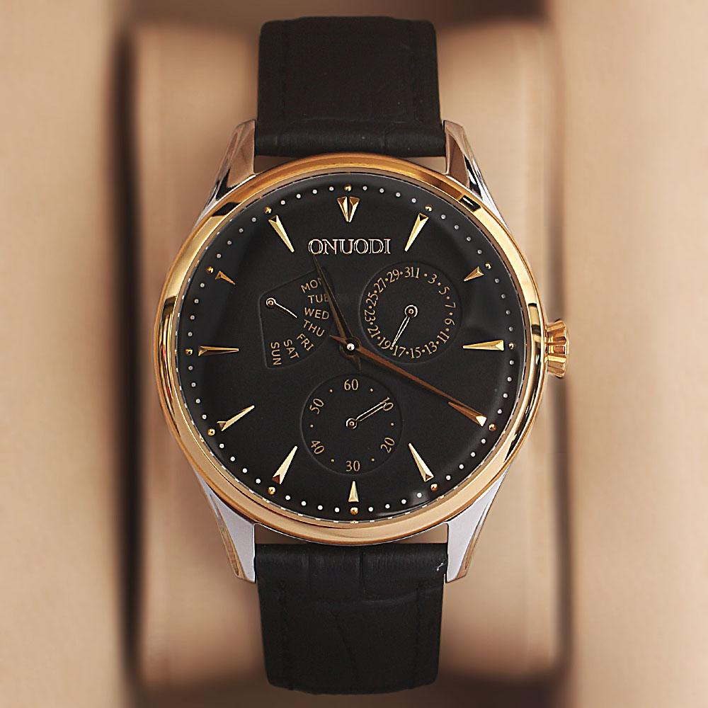 Onuodi Black Leather Chronograph Shanghai Watch
