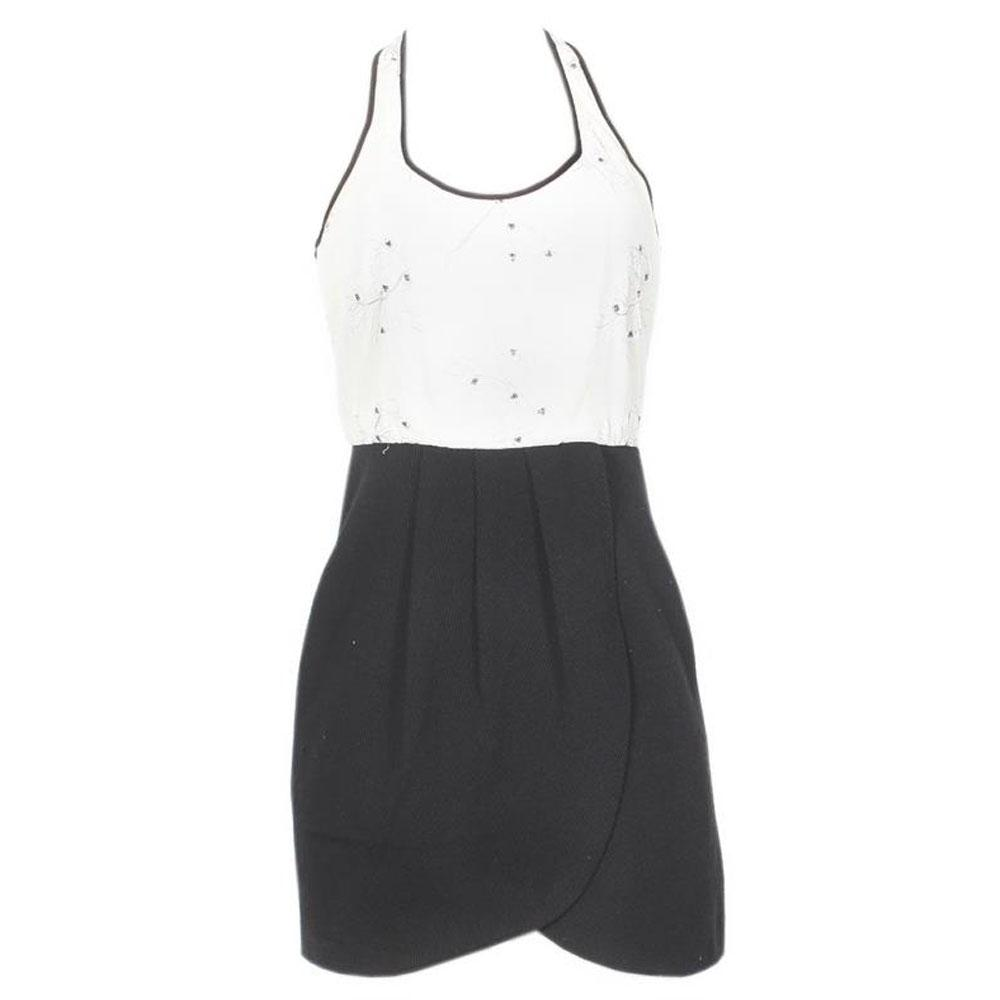 Kenar Black/Cream Sleeveless Short Dress - Uk 8