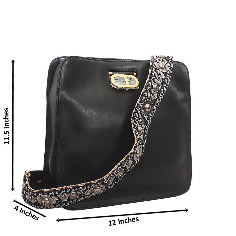 Black Cowhide Leather Shoulder Handbag