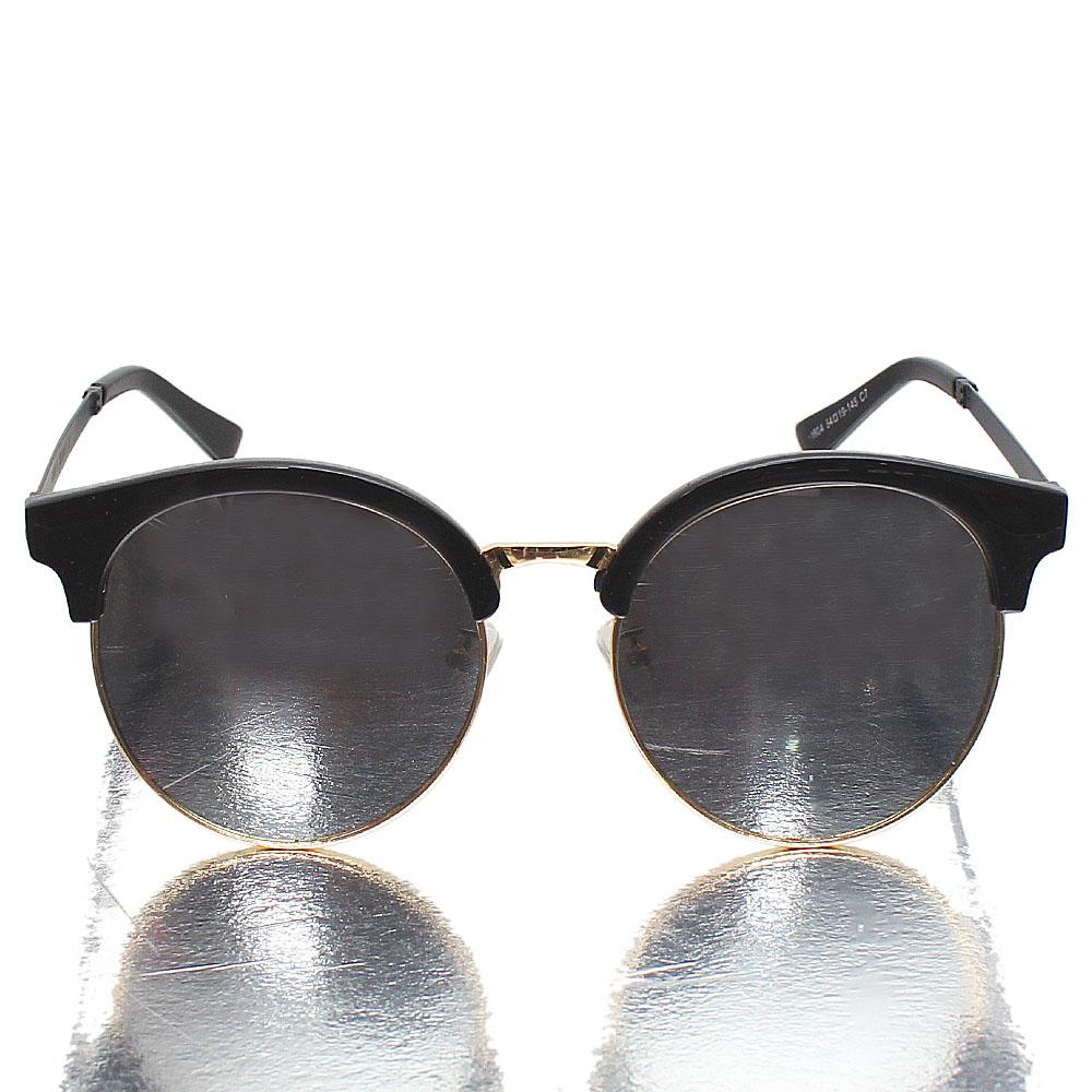Gold Black Club Master Mirrored Lens Sunglasses