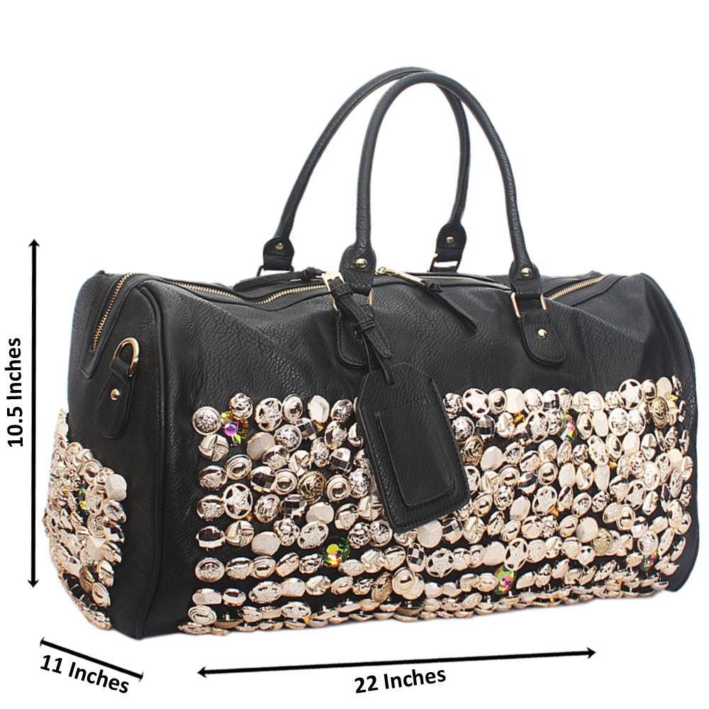 Black Leather Rock Star Studded Boston Bag