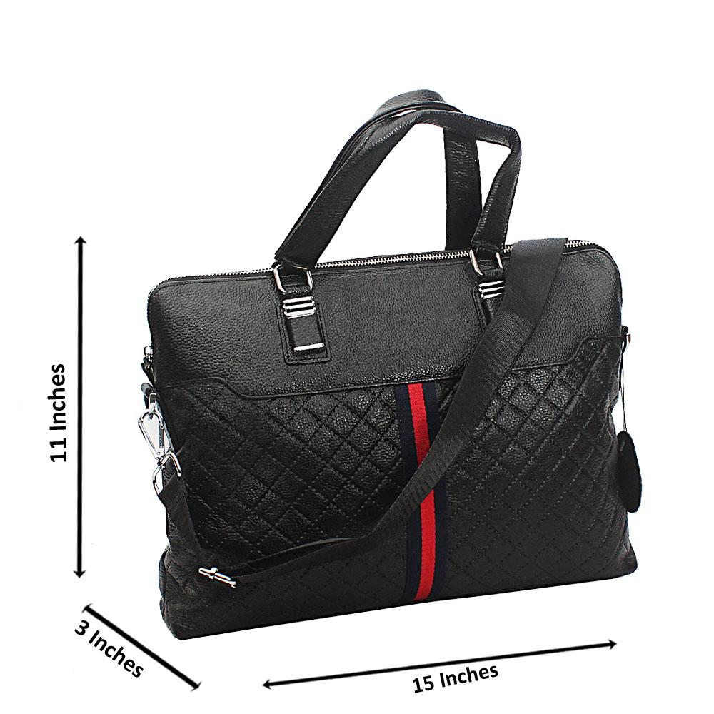 Black Hari Printed Design Tuscany Leather Business Man Bag