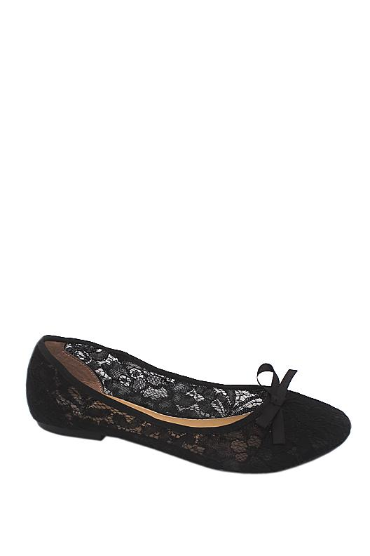 Tu Black Net Fabric Flat Shoe
