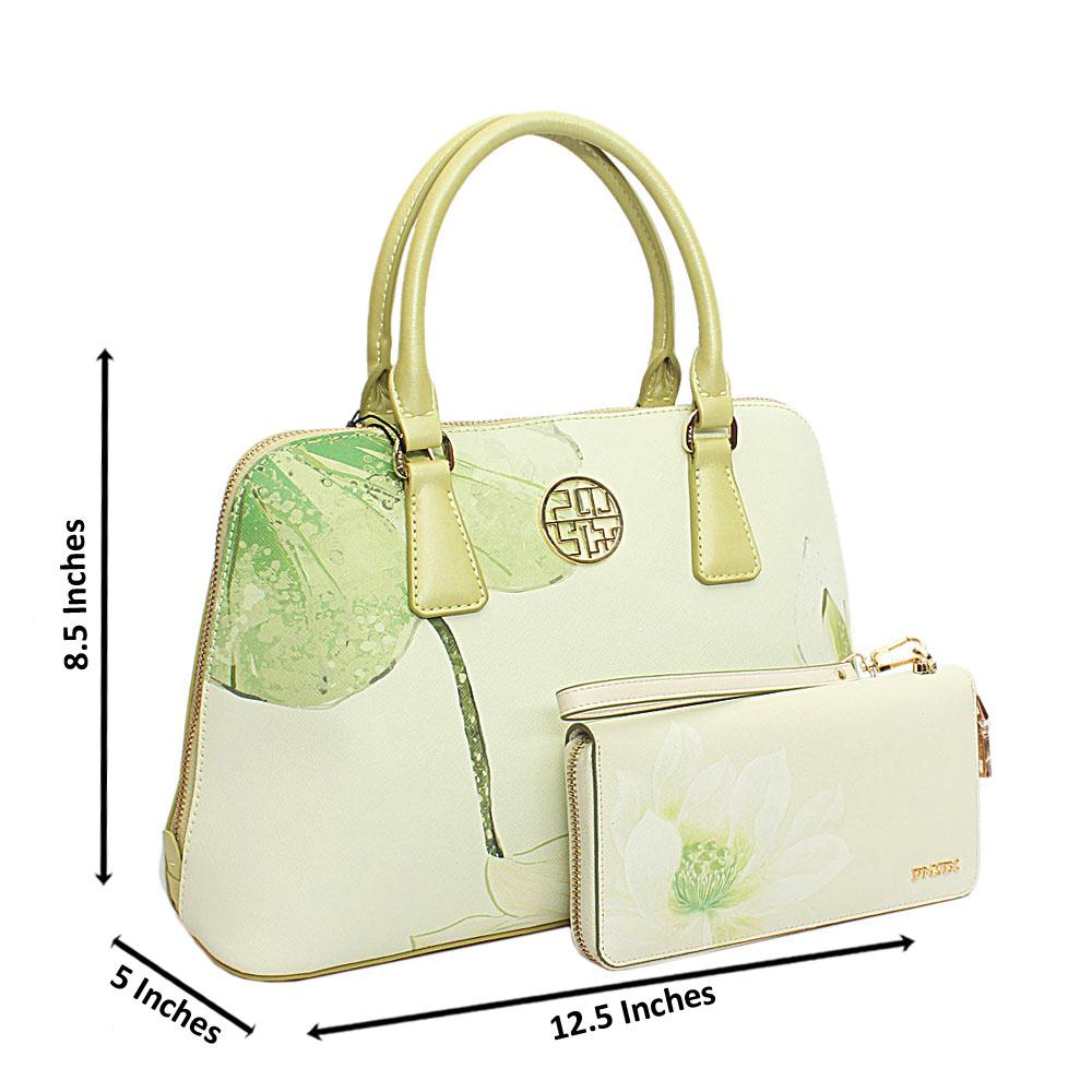 PMSix Lemon Green Floral Patterned Cow-Leather Handbag wt Purse