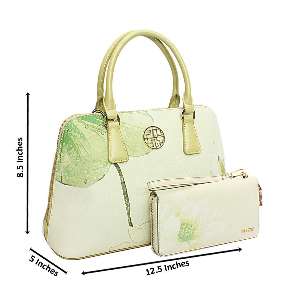 PMSix Lemon Green Floral Patterned Cow-Leather Handbag wt Purse