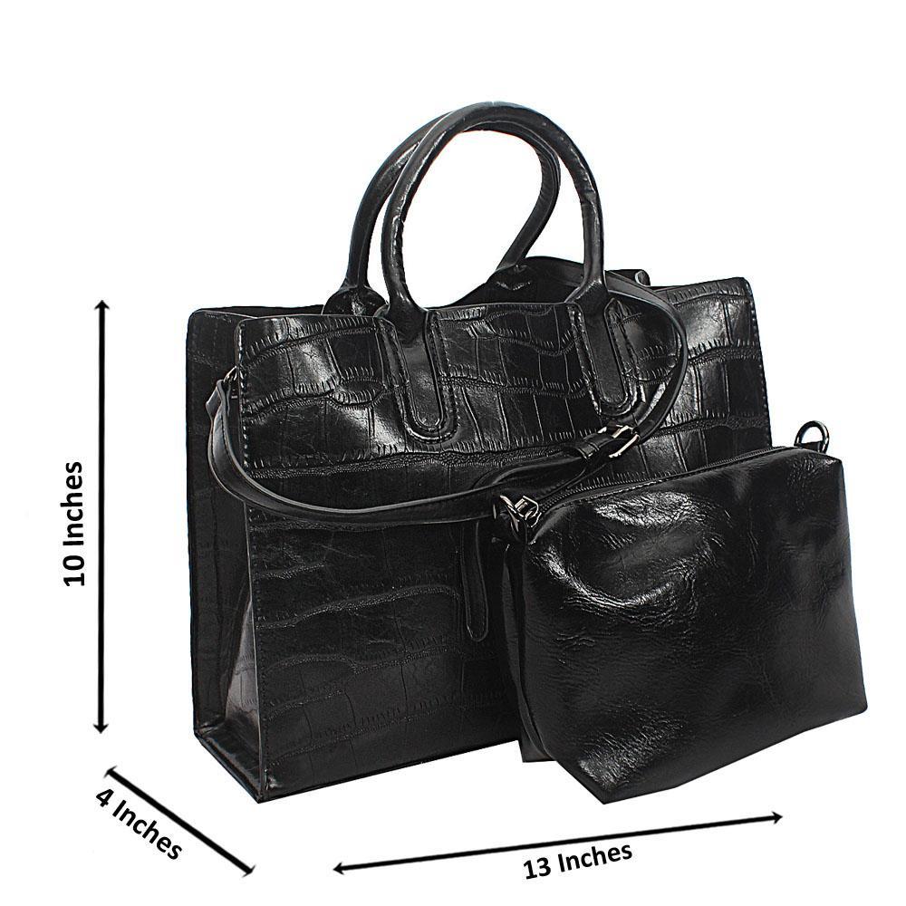 Black Maya Croc Leather Tote Handbag