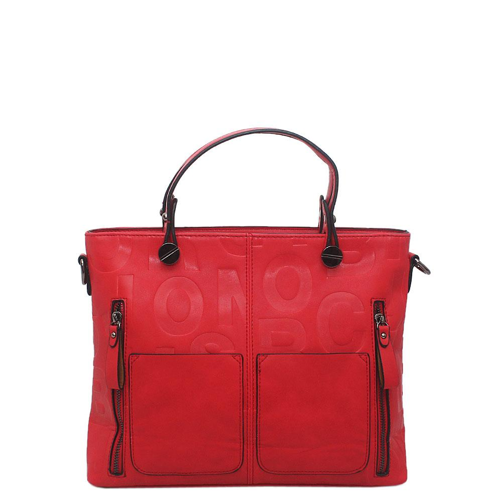 Elegant Red Leather Medium Tote Bag