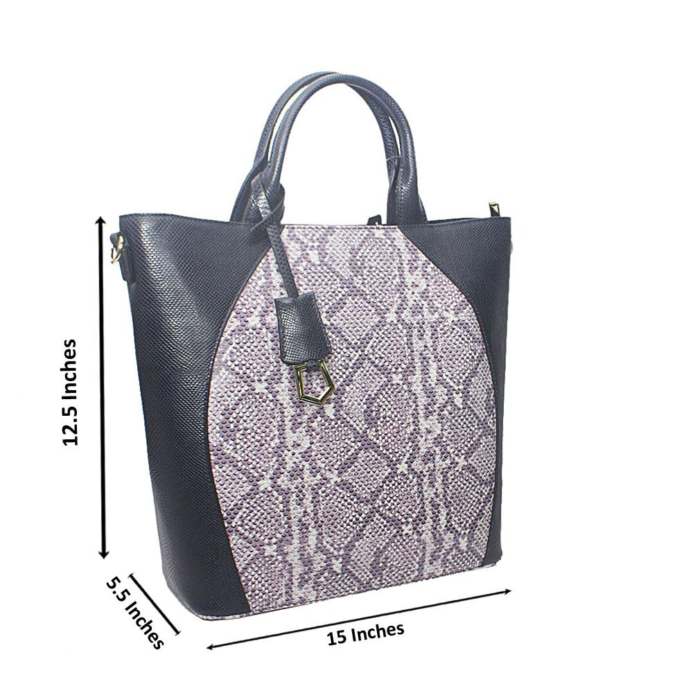 Meliana Navy Lilac Narrow Snake Montana Leather Handbag