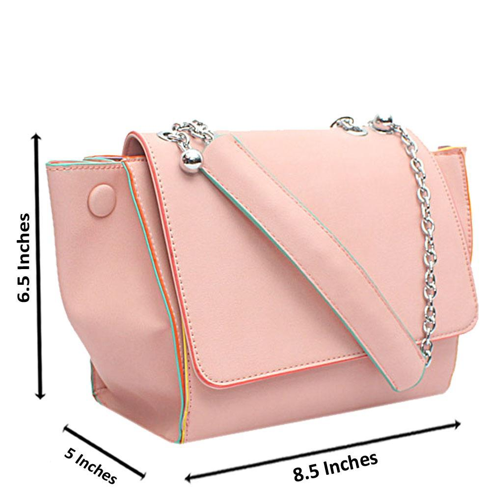 London  Style Pink Leather Shoulder Handbag