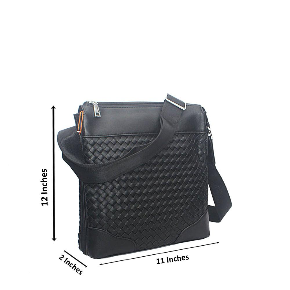 Black Woven Leather Side man  Bag