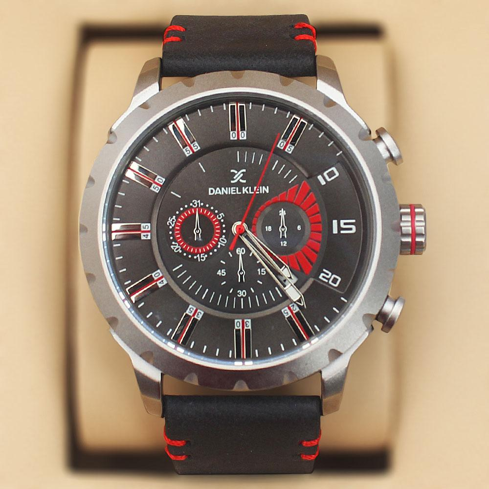 Daniel Klein Nubuck Black Wt Red Leather Sport Series Watch