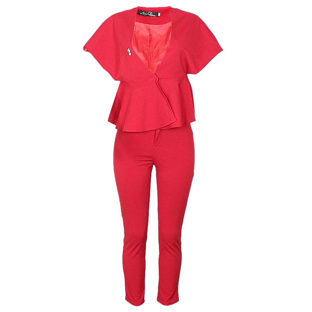 Anna Slu Red Ladies  Blouse & Trouser-L