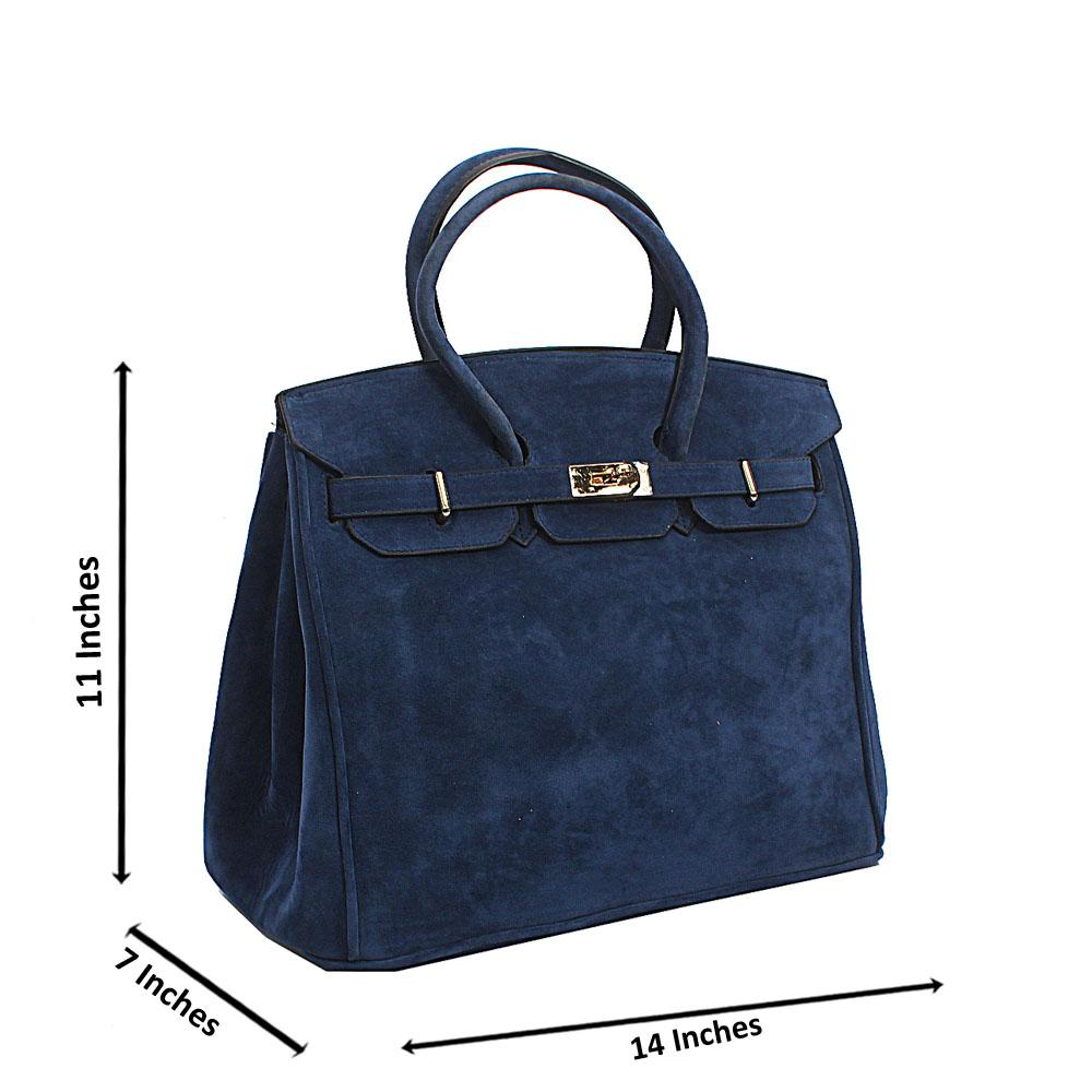 Blue Suede Leather Birkin Tote Handbag