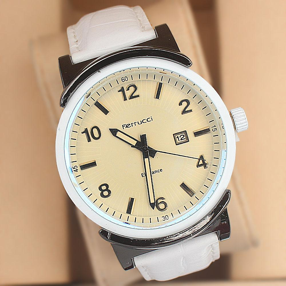 Ferrucci Shinning Armor White Leather Strap Fashion Watch