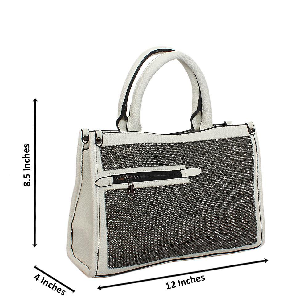 White Kya Silver Studded Tote Handbag