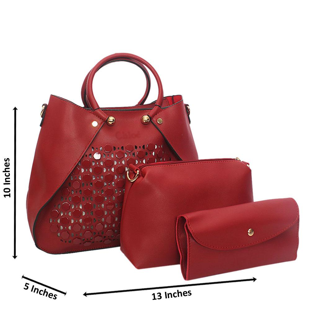 Wine Rose See Through Leather 3 in 1 Tote Handbag