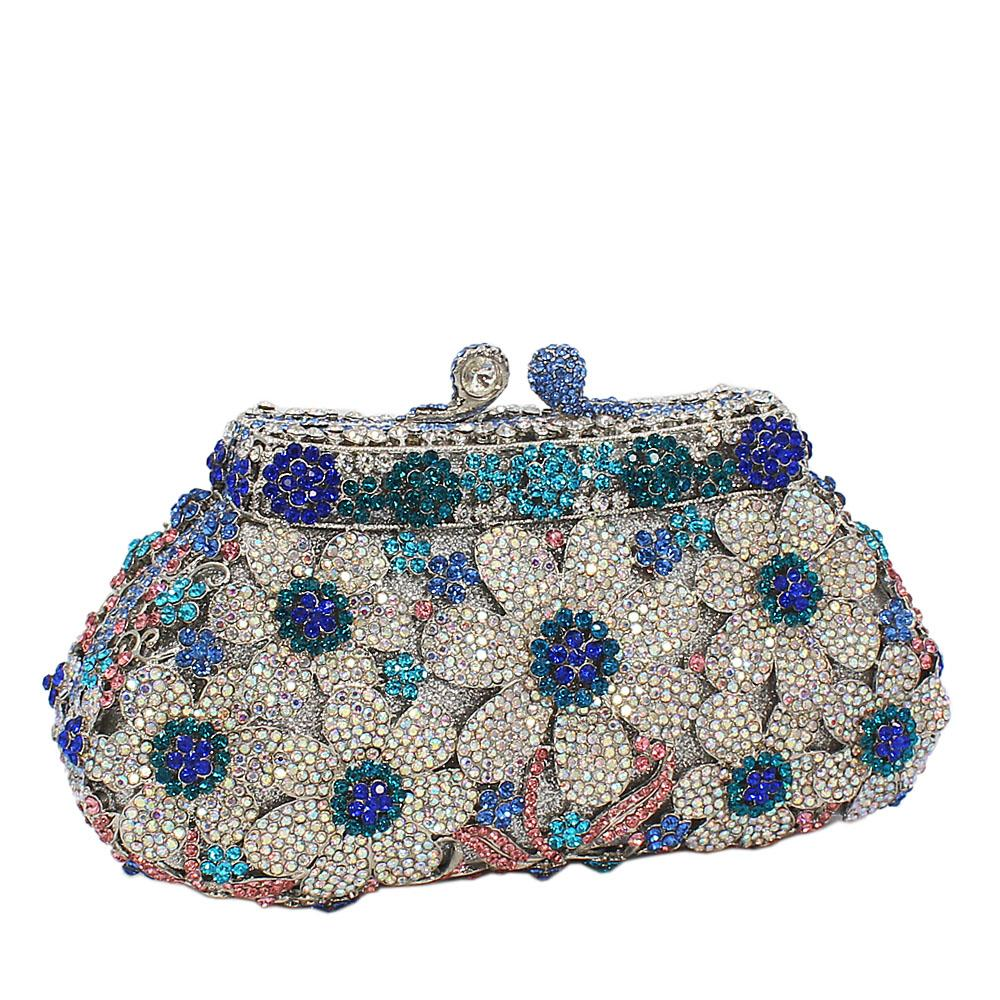 Silver Blue Flower Petals Diamante Crystals Clutch Purse