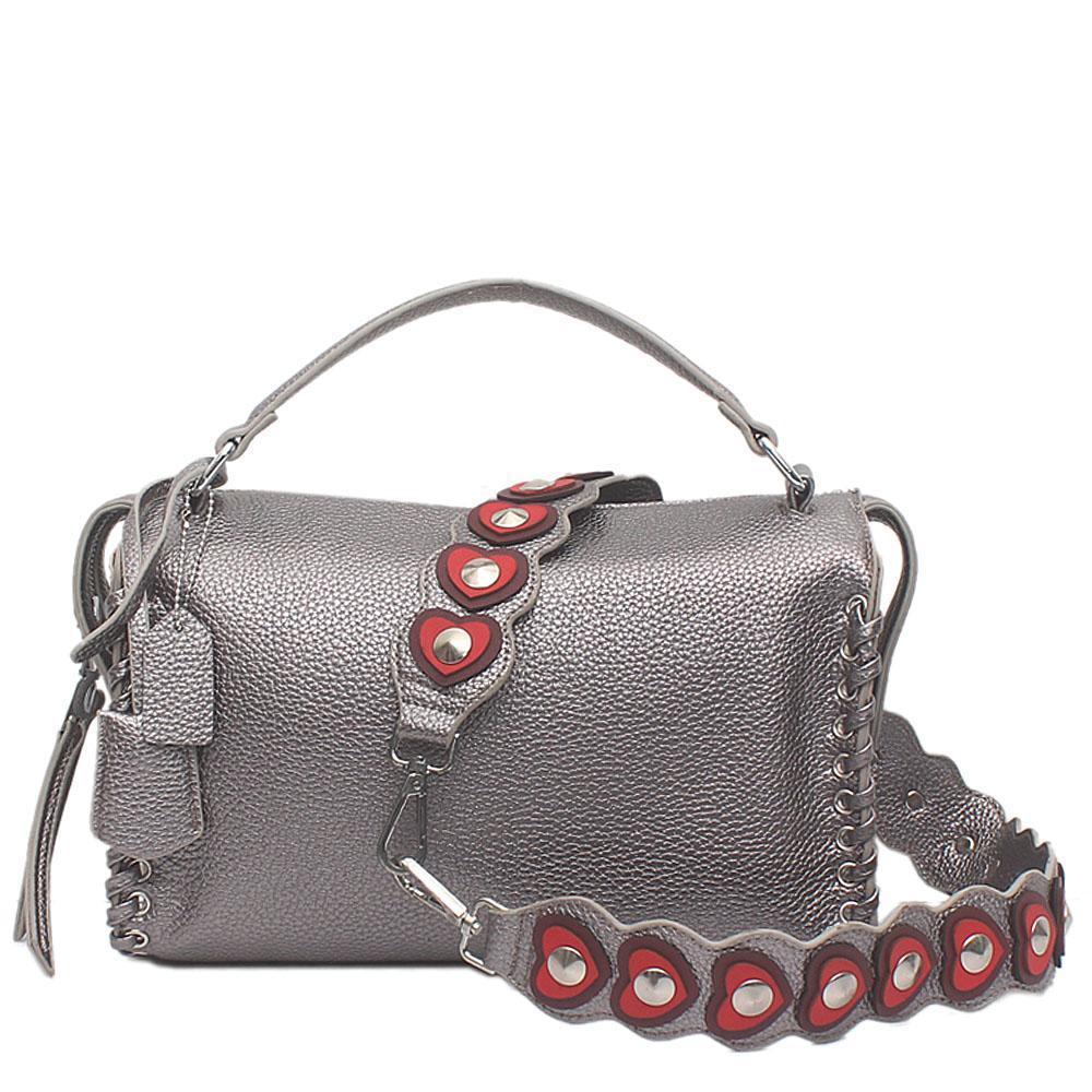 London  Style Grey Leather Handle Bag