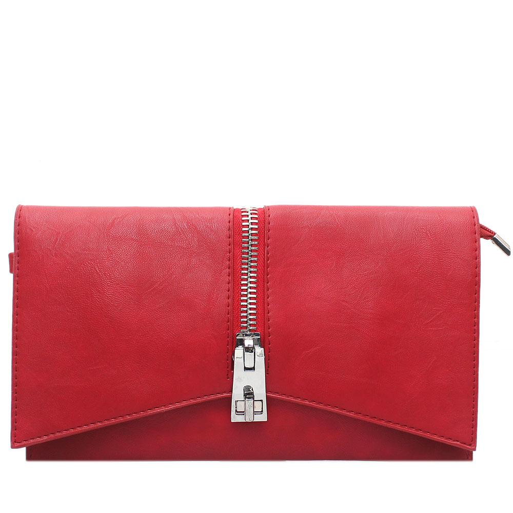 Red Tonia Zip Leather Flat Purse