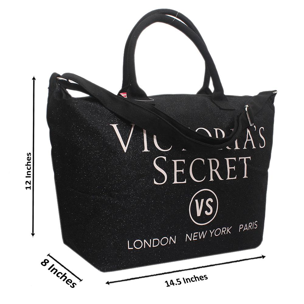 VS Black Shimmering Leather Duffle Bag