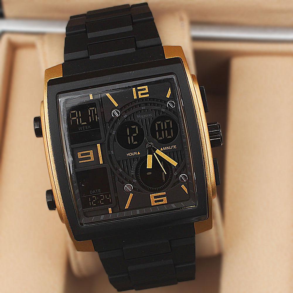 Vegans Black-Gold Rubber Spartan  50M Analog-Digital Watch
