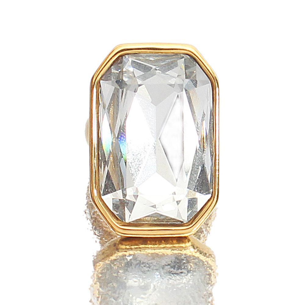 Gold Steel Ice Classic Ladies Ring