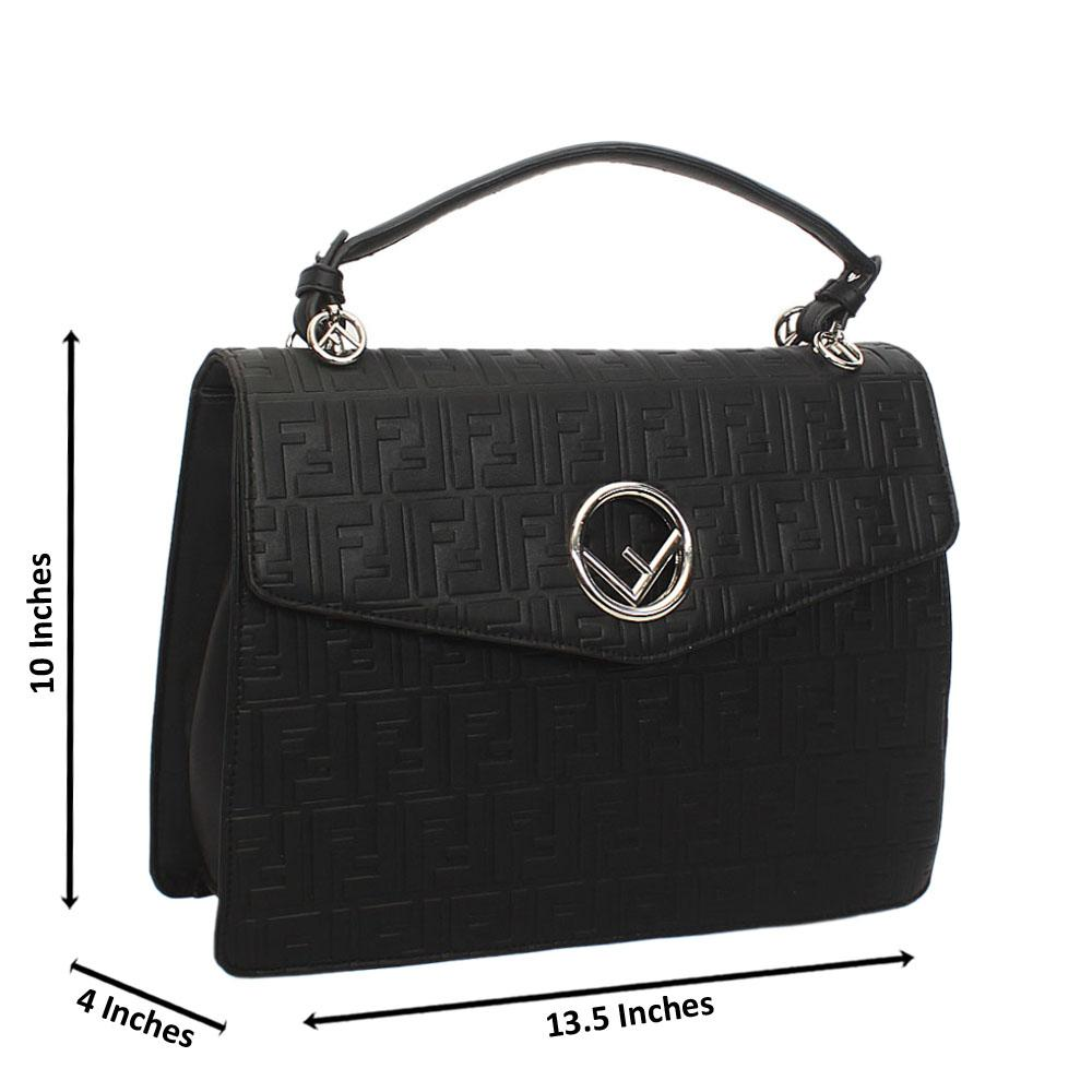 Black Embossed Leather Top Handle Handbag
