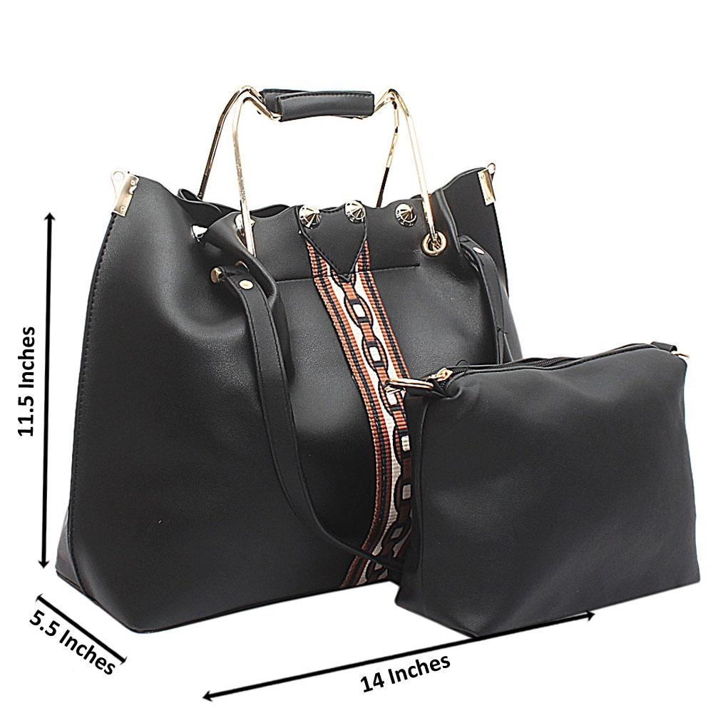 Black Leather Handbag Wt Purse