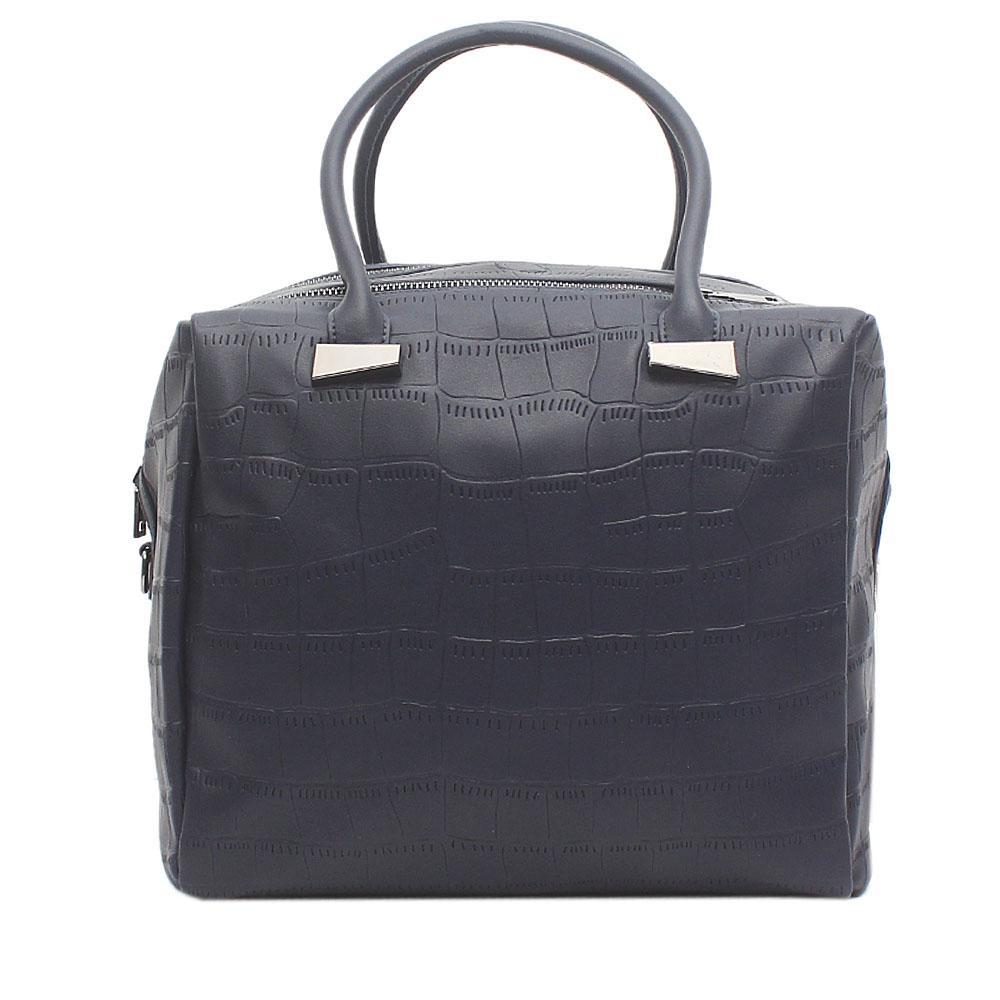 London  Style Navy Blue Leather Handbag