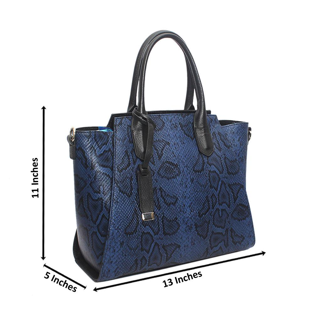 Ariana Blue Black Snake Montana Leather Handbag