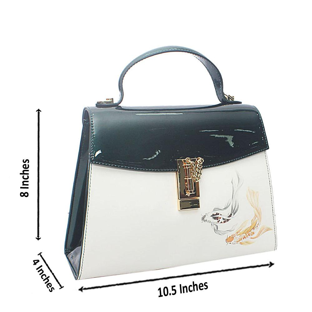 PMSix Green-White Pisces Patent Cow-Leather Top Handle Handbag