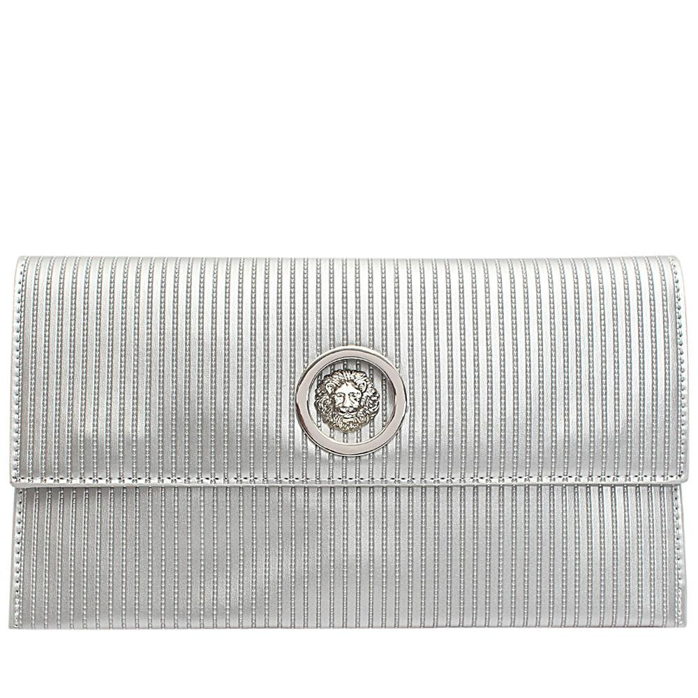 Silver Leather Flat Purse