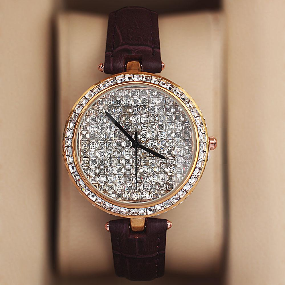 Gold-Purple-Crystal-Ice-Studded-Leather-Ladies-Watch