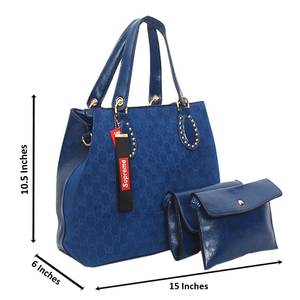 Blue Lotti Suede Leather Tote Handbag