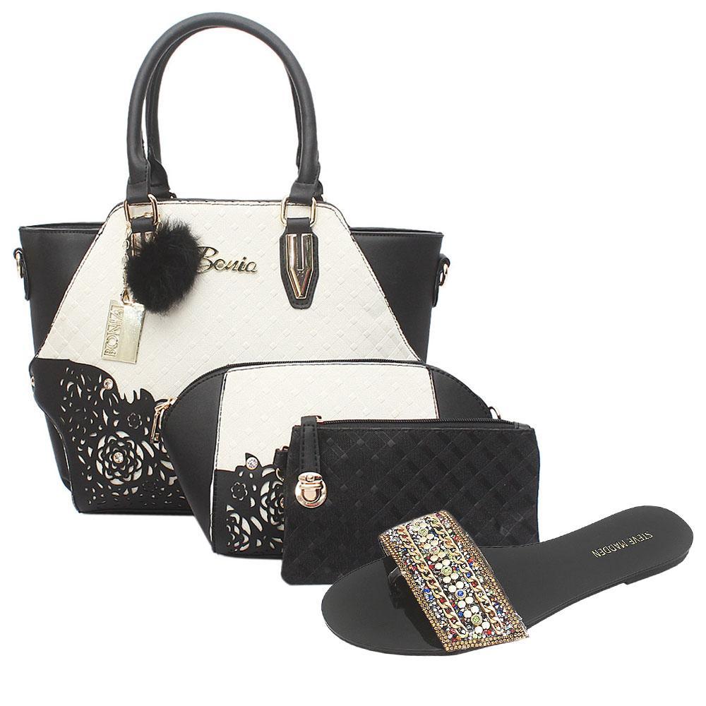 Bonia Black White Leather 3 in 1 Bag