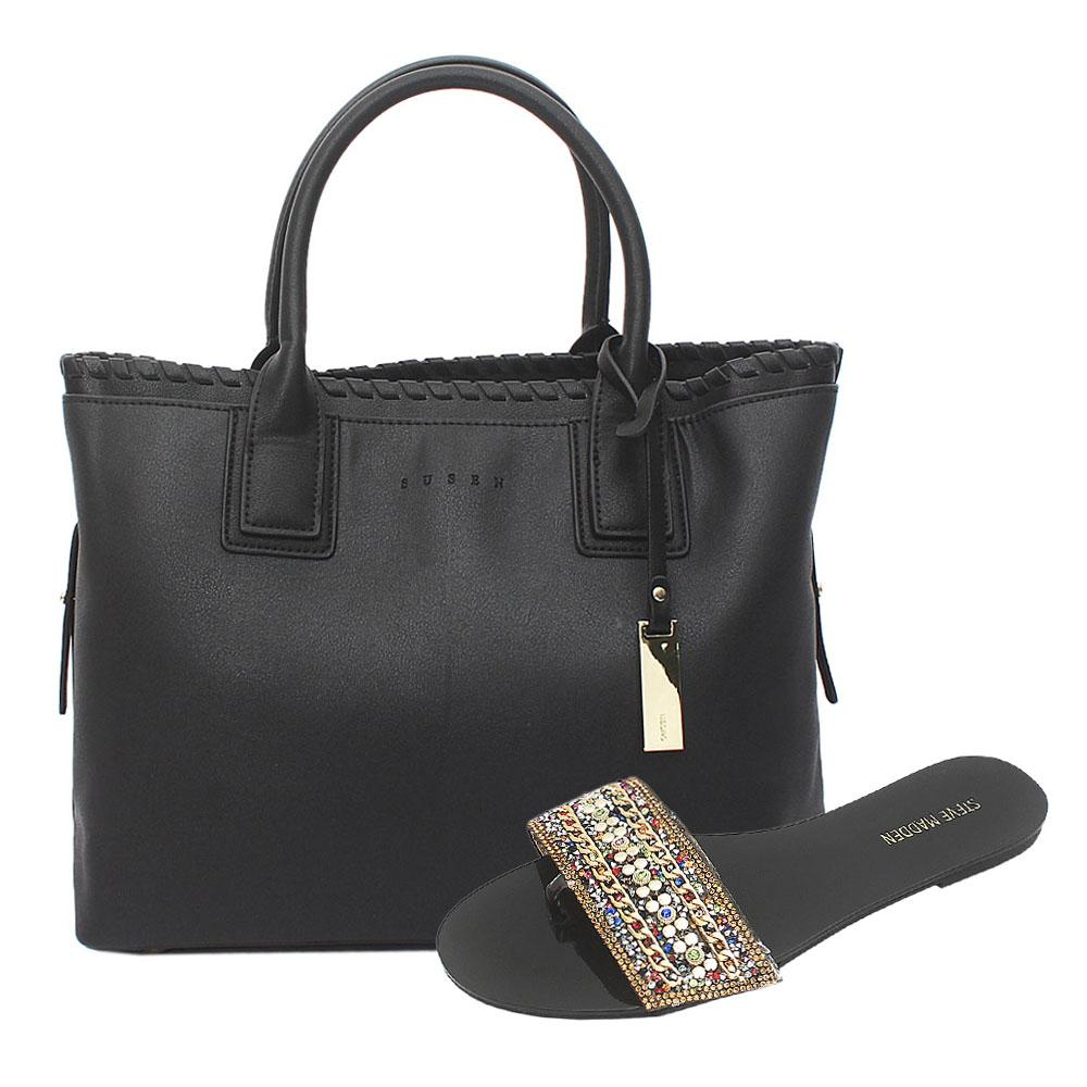 Susen Black Leather Tote Bag