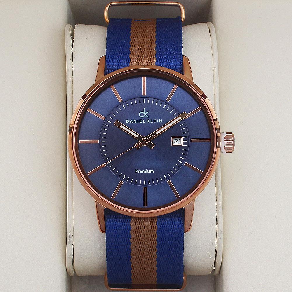 Daniel Klein Adventura Watch wt Blue-Brown Fabric Strap
