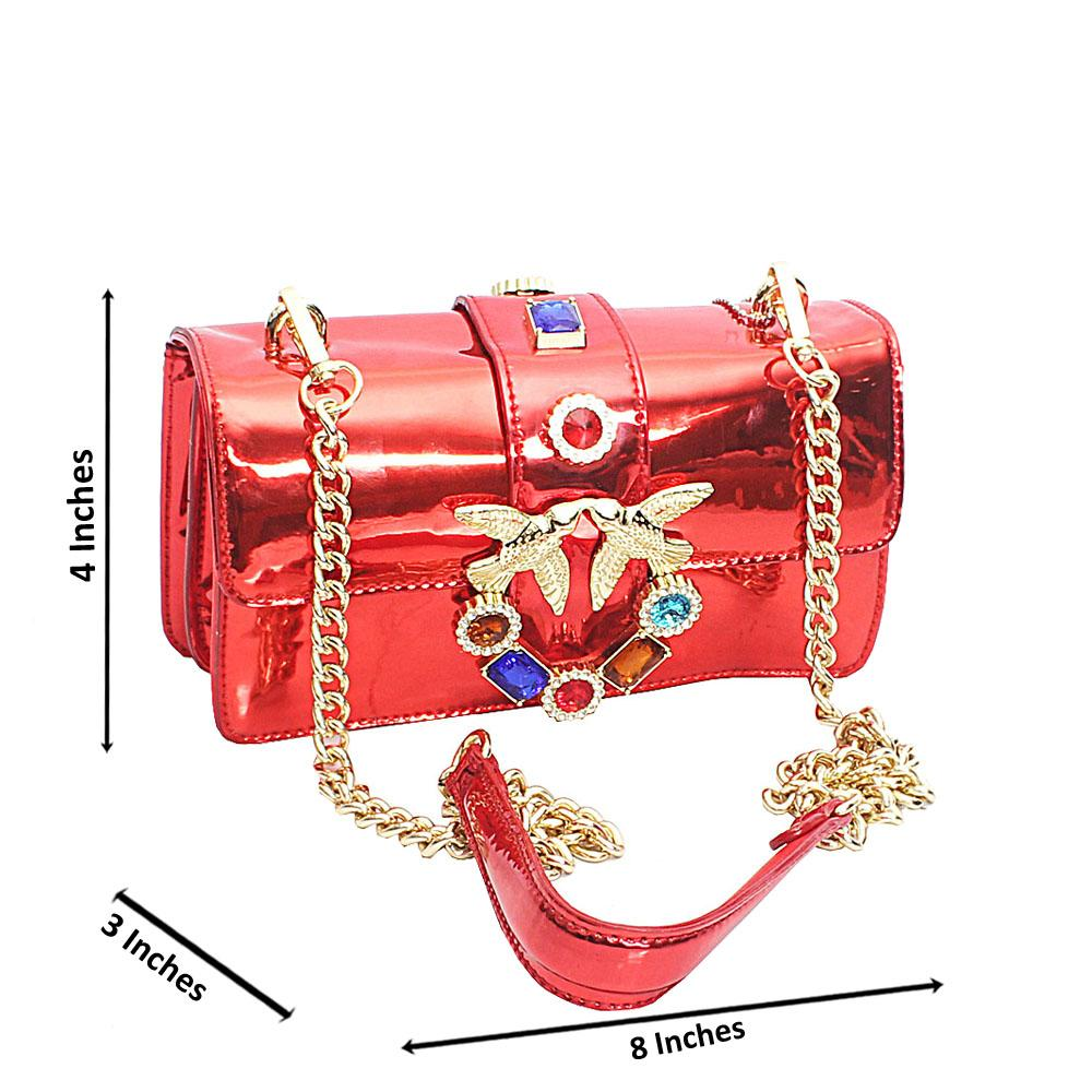 Red Patent Leather Mini Cross Body Bag