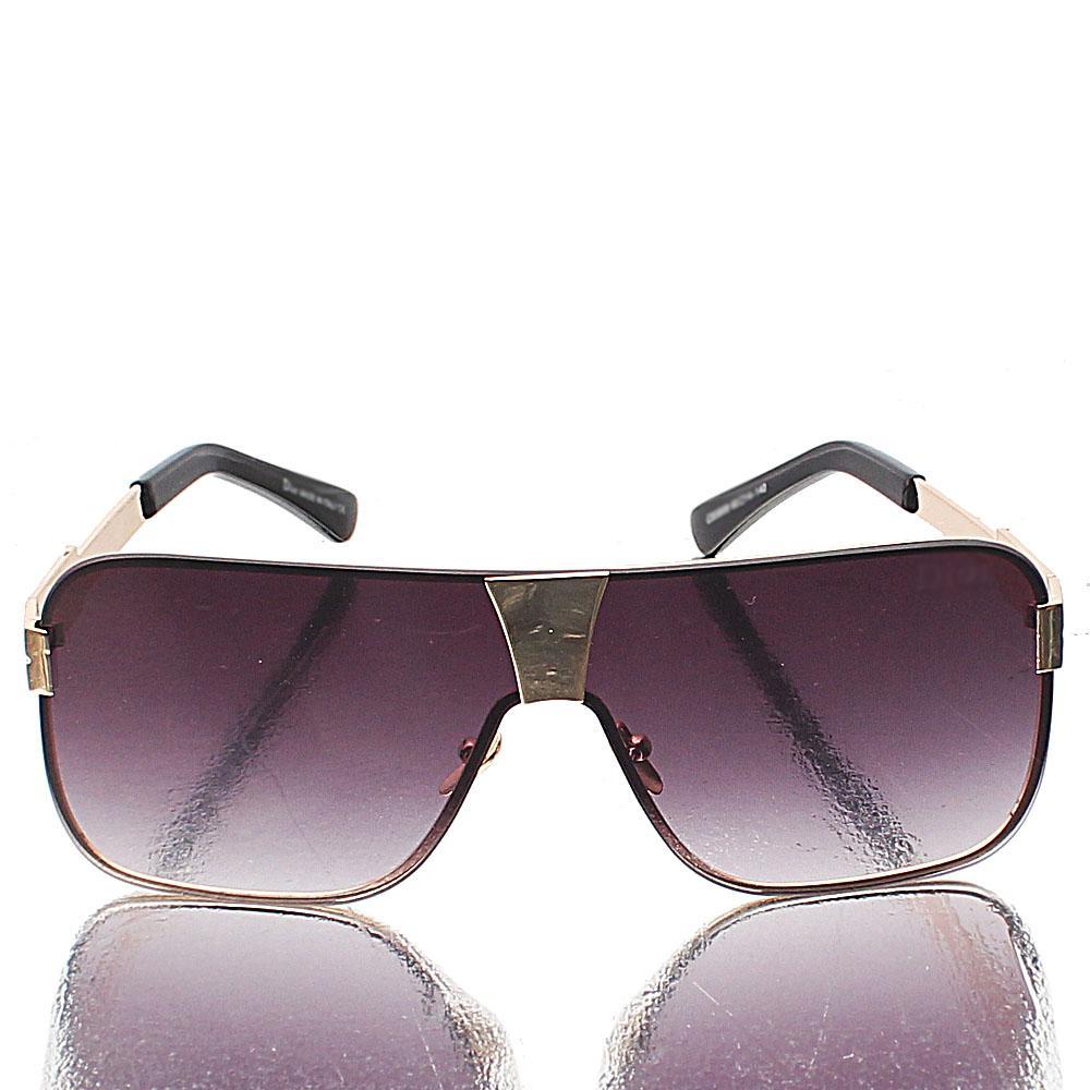 Gold Shield Black Lens Sunglasses
