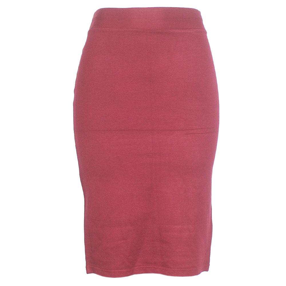 Wine Cotton Stretch Skirt M-L