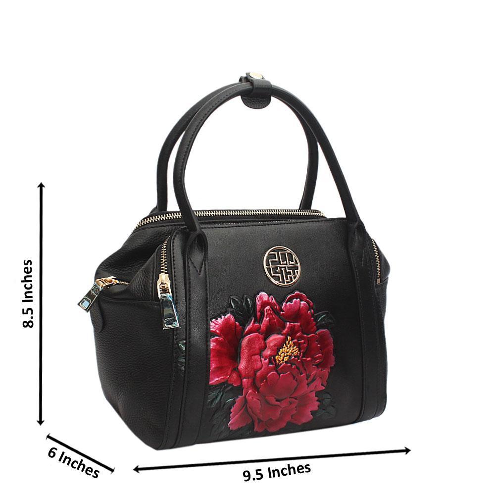 Cute Black Hibiscus Frontal Style Small Saffiano Leather Handbag