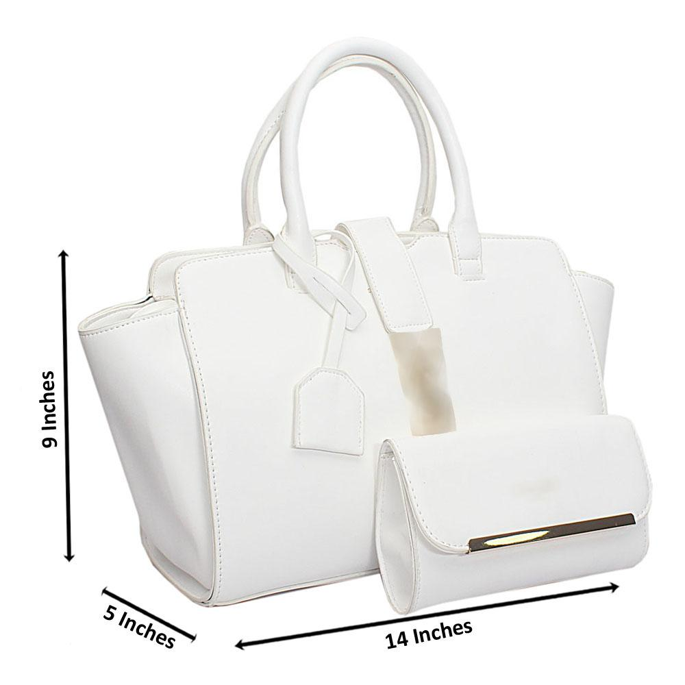 White Leather Trapezoid Bag