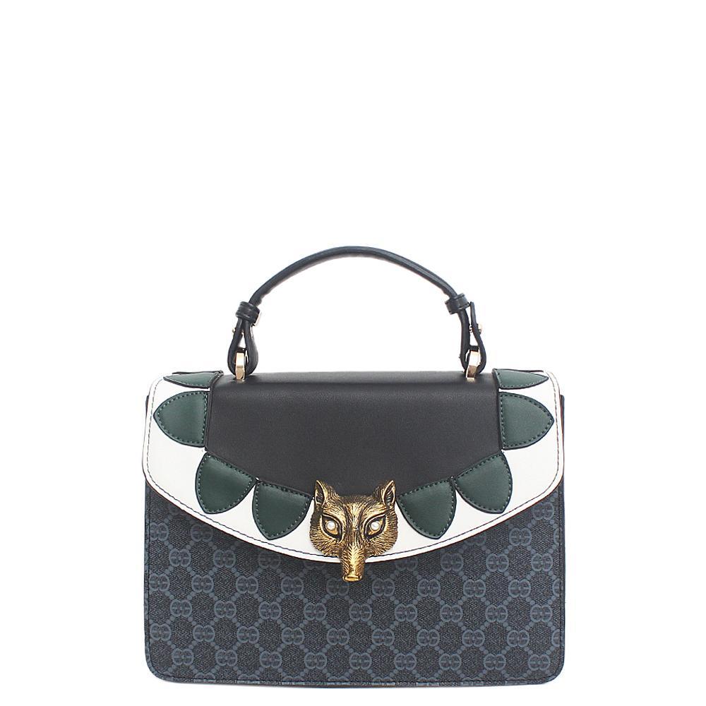 Black Green White Leather Small Broche GG Bag