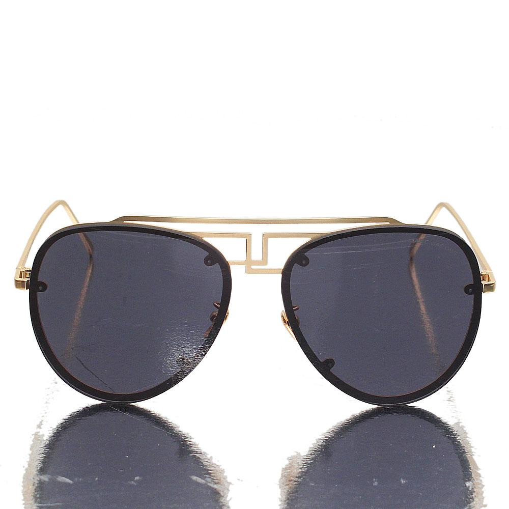 Gold Aviator Dark Lens Sunglasses