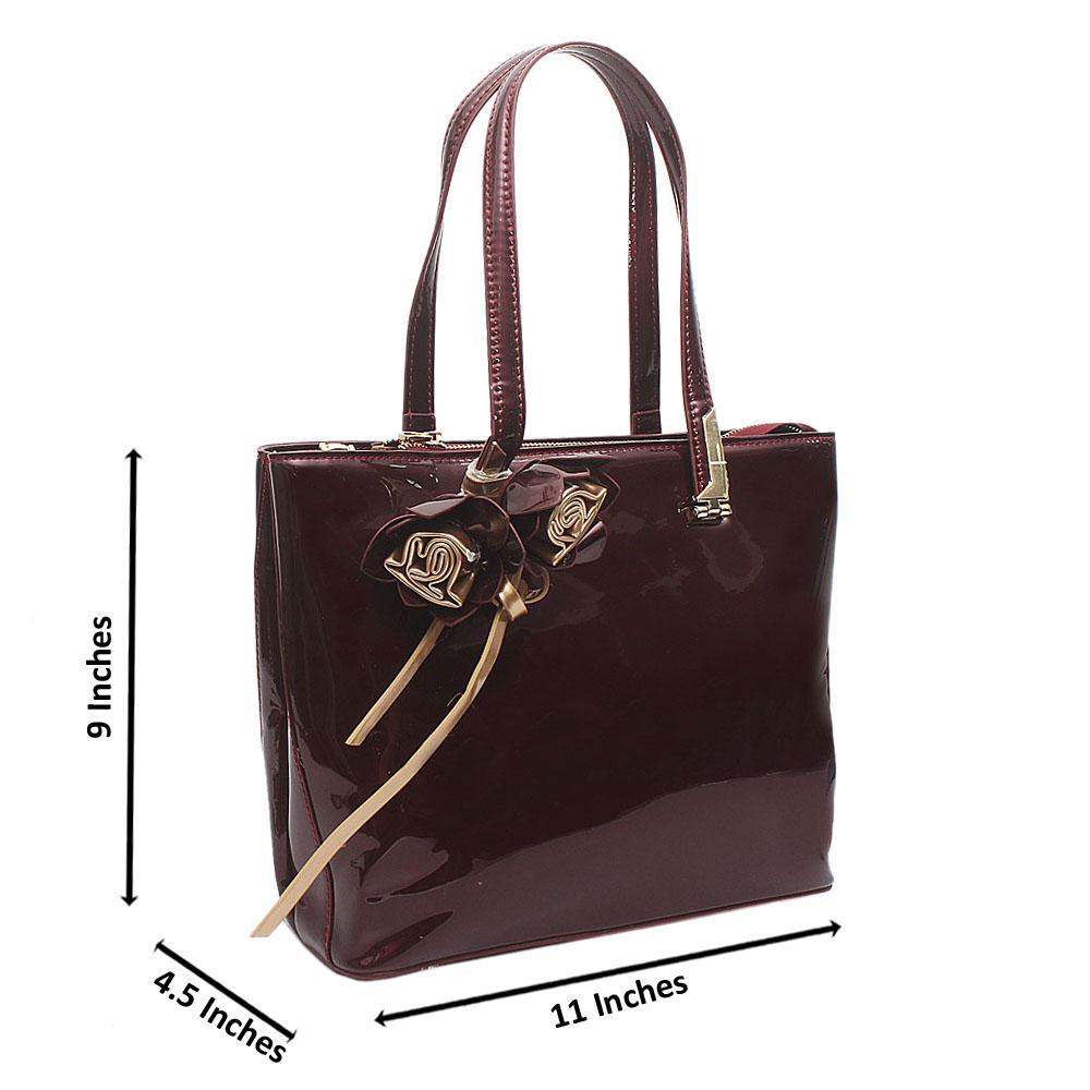 Wine Dupo Medium Patent Leather Handbag